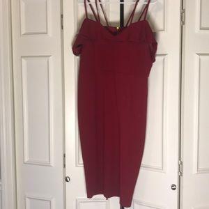 Strappy, Off-the-Shoulder, Burgundy Dress